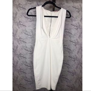 Dresses & Skirts - White Dress with Deep Plunge Neckline